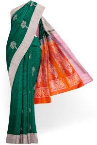 sri kumaran stores soft silk saree dark green saree with white border 1