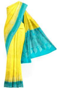 sri kumaran stores soft silk saree light yellow saree with sky blue border 1