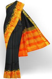 sri kumaran stores tussar silk black saree with golden orange border 1