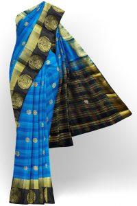 sri kumaran stores tussar silk blue saree with golden black border 1