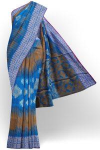 sri kumaran stores tussar silk blue saree with white border 1