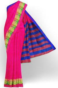 sri kumaran stores tussar silk bright pink saree with golden pink border 1