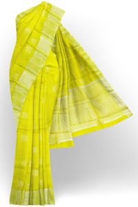 sri kumaran stores tussar silk bright yellow saree with golden border 1