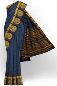 sri kumaran stores tussar silk dark blue saree with golden black border 1