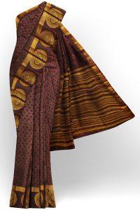 sri kumaran stores tussar silk dark brown saree with golden brown border 1