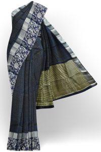 sri kumaran stores tussar silk dark grey saree with silver colour border 1