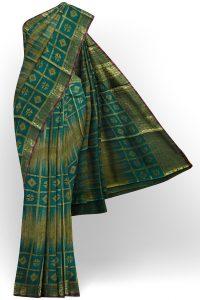 sri kumaran stores tussar silk green saree with golden colour border 1