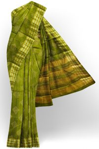 sri kumaran stores tussar silk green saree with golden silver border 1