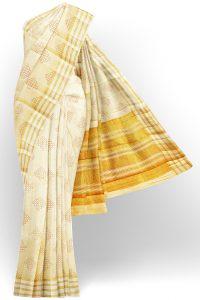 sri kumaran stores tussar silk half white saree with golden colour border 1