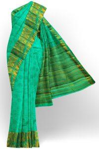 sri kumaran stores tussar silk mint green saree with golden border 1