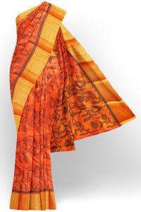 sri kumaran stores tussar silk orange saree with golden colour border 1