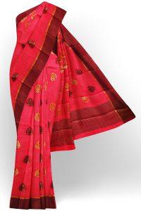 sri kumaran stores tussar silk pink saree with brown border 1