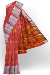 sri kumaran stores tussar silk pink saree with silver border 1